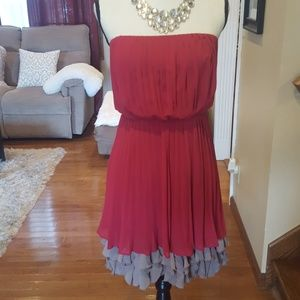 Jessica Simpson super cute maroon and tan party dr